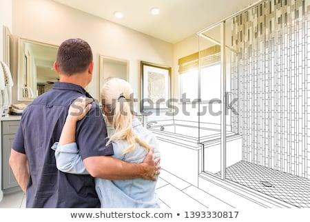 Pár fürdőkád férfi nők fürdőszoba szórakozás Stock fotó © ajfilgud