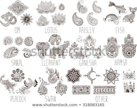 Bratara simboluri elefantii alb fundal artă Imagine de stoc © OleksandrO