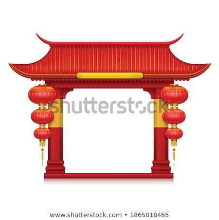 Китай красный двери детали звонящий по телефону китайский Сток-фото © guillermo