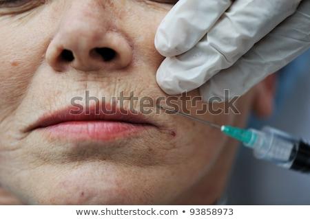 Idős nő bőrápolás injekció divat ajkak Stock fotó © zurijeta