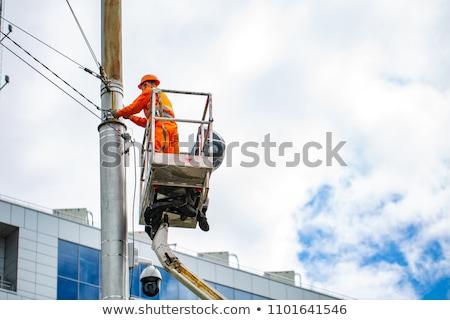 Elektricien werken hoogte werk werknemer tool Stockfoto © zurijeta