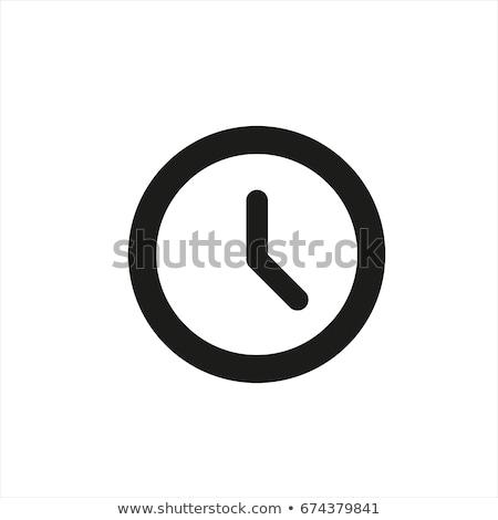 clock icon on button on white background Stock photo © mizar_21984