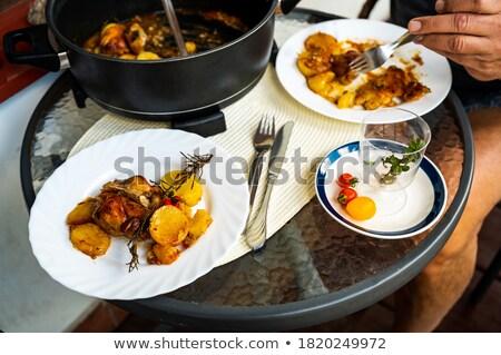 Paradicsom fokhagyma serpenyő ebéd étel egészséges Stock fotó © M-studio