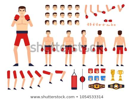 Férfi box vadászrepülő fiatal izmos sportos Stock fotó © handmademedia