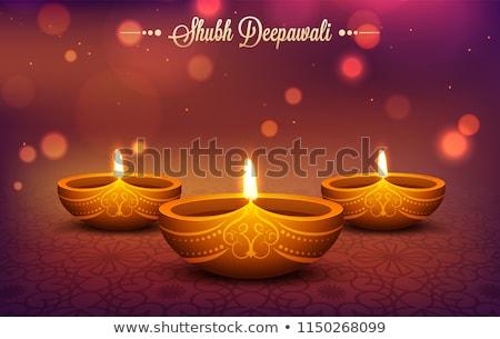 Kreatív diwali bokeh hatás gyertya lámpa Stock fotó © SArts
