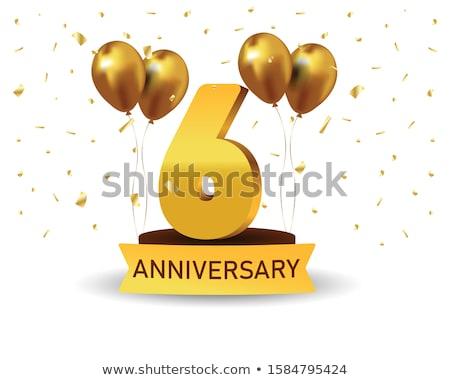 6th  anniversary celebration card template Stock photo © SArts