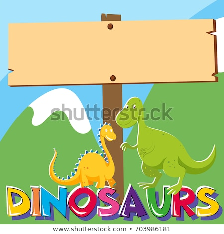 Stock fotó: Wooden Sign With Two Dinosaurs