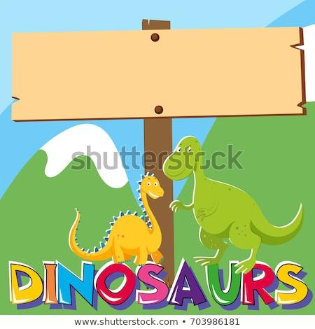 Сток-фото: два · Динозавры · иллюстрация · горные · искусства