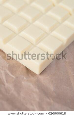 Közelkép fehér csokoládé szelet csempék textúra bár Stock fotó © deandrobot