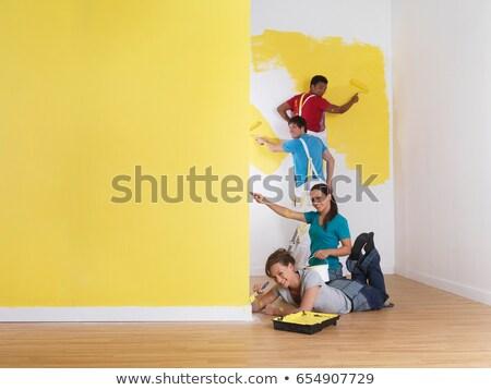 Csoport festmény rendelés magasság nő férfi Stock fotó © IS2