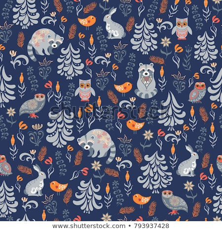 Scandinavian seamless vector pattern with flowers and birds, Nordic folk art repetitive navy blue or Stock photo © RedKoala
