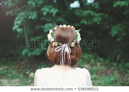 Bob hair Wedding dress women Stock photo © toyotoyo