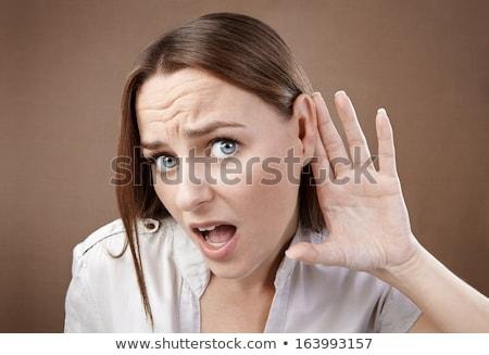 привлекательный рук за ушки портрет Сток-фото © williv