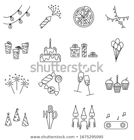 Partij sterretje icon dun lijn ontwerp Stockfoto © angelp