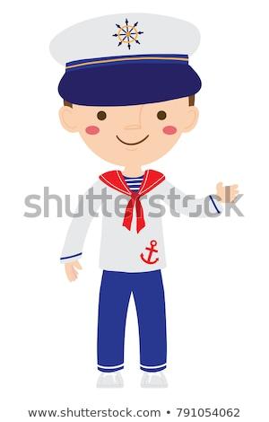 Uśmiechnięty cartoon marynarz ilustracja szczęśliwy mężczyzn Zdjęcia stock © cthoman