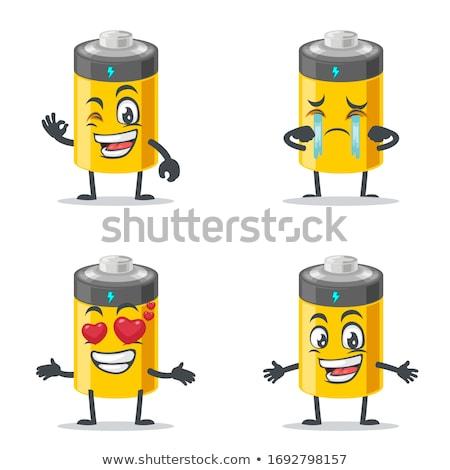 Felice batteria mascotte carattere isolato bianco Foto d'archivio © hittoon