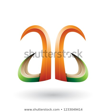 Orange and Green 3d Horn Like Letter A Vector Illustration Stock photo © cidepix