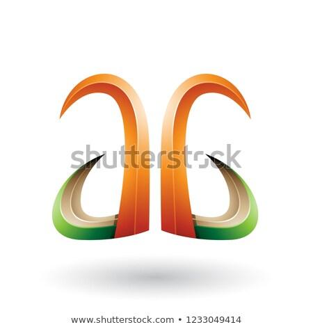 zielone · pomarańczowy · dynamiczny · pływające · litera · c · wektora - zdjęcia stock © cidepix