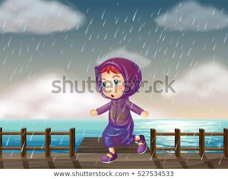 Ragazza esecuzione pioggia pier illustrazione bambino Foto d'archivio © colematt