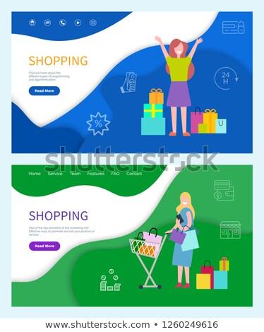 Winkelen vrouw web posters effectief vector Stockfoto © robuart