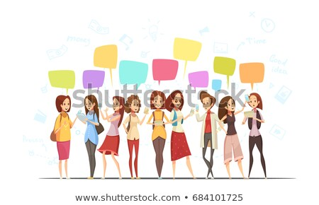 Chat Teenager Girl Poster Vector Illustration Stock photo © robuart