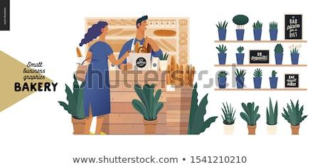 Foto stock: Baguettes · cesta · vector · panadería · tienda