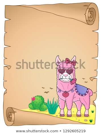 Llama with love glasses parchment 2 Stock photo © clairev
