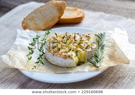 ızgara camambert peynir armut beyaz plaka Stok fotoğraf © grafvision