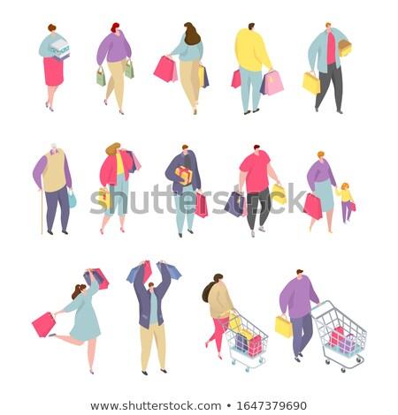 Frau · legen · kaufen · täglich · Produkte · Vektor - stock foto © rastudio
