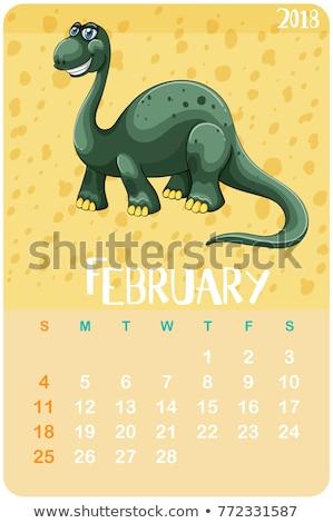 Calender template for February with brachiosaurus Stock photo © colematt
