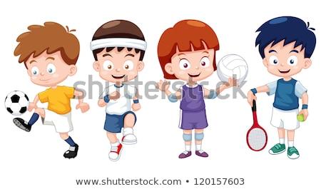 sportok · gyerekek · illusztráció · tart · különböző · viselet - stock fotó © bluering