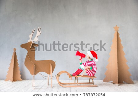 girl with sleigh in winter Stock photo © adrenalina