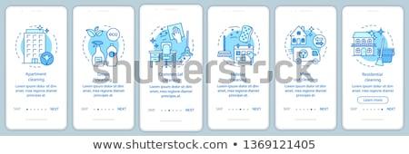 Commerciële schoonmaken app interface sjabloon bedrijf Stockfoto © RAStudio