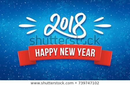 Digital vetor vermelho azul feliz feliz ano novo Foto stock © frimufilms