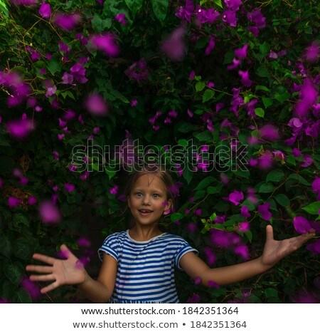 Nice девушки портрет цветы Cute Сток-фото © alexaldo