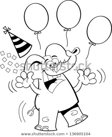 cartoon birthday elephant jumping black and white line art stock photo © bennerdesign