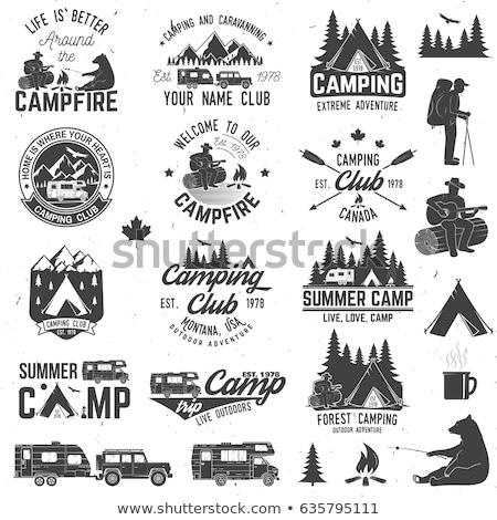 Retro çadır siluet logo seyahat imzalamak Stok fotoğraf © barsrsind