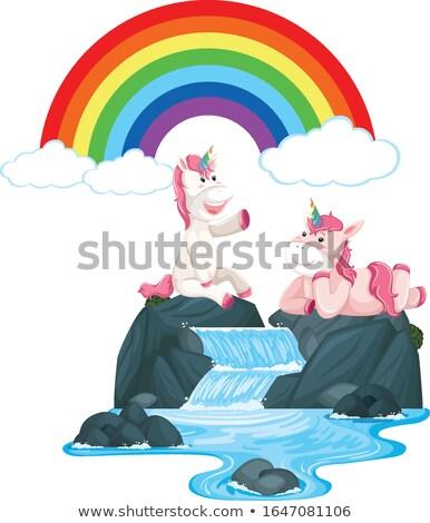 Happy unicorns sitting on the waterfall Stock photo © bluering