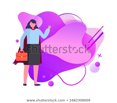 Hero Businesswoman with Briefcase with Documents Stock photo © robuart