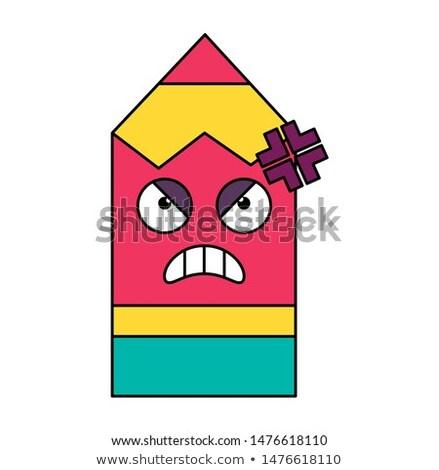 Mad potlood sticker schets illustratie boos Stockfoto © barsrsind