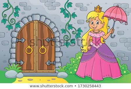 王女 傘 古い ドア 女性 幸せ ストックフォト © clairev