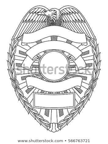 Police, Sheriff,  Law Enforcement Badge Isolated Vector Illustration in both Black Line Art and Whit Stock photo © jeff_hobrath