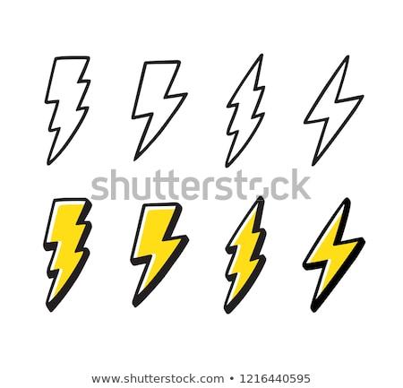 Thunder Cartoon цвета икона круга Сток-фото © barsrsind