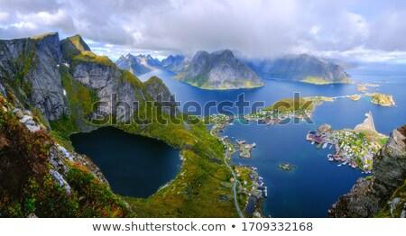 Panorama noors eilanden Noorwegen winter huis Stockfoto © dmitry_rukhlenko