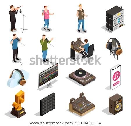 Słuchania muzyki piosenka smartphone izometryczny ikona Zdjęcia stock © pikepicture