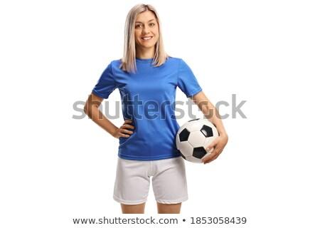 Sportos nő futballabda kar barna hajú piros Stock fotó © pekour