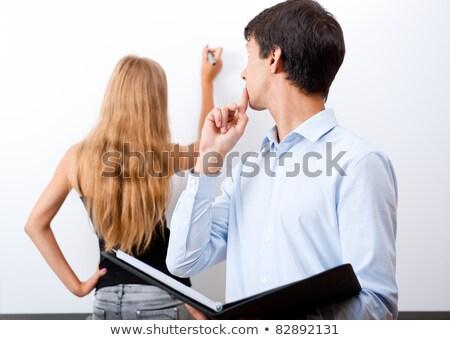 volwassen · leraar · student · presenteren · werk - stockfoto © hasloo