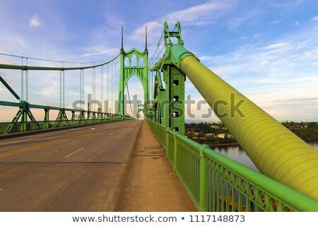 Stockfoto: Brug · staal · rivier · naar