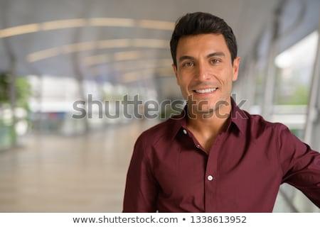 gülen · kurumsal · genç · yalıtılmış · beyaz - stok fotoğraf © stockyimages