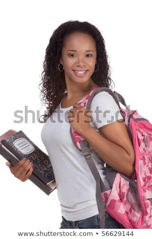 студент рюкзак спиральных ноутбук привлекательный Сток-фото © stockyimages